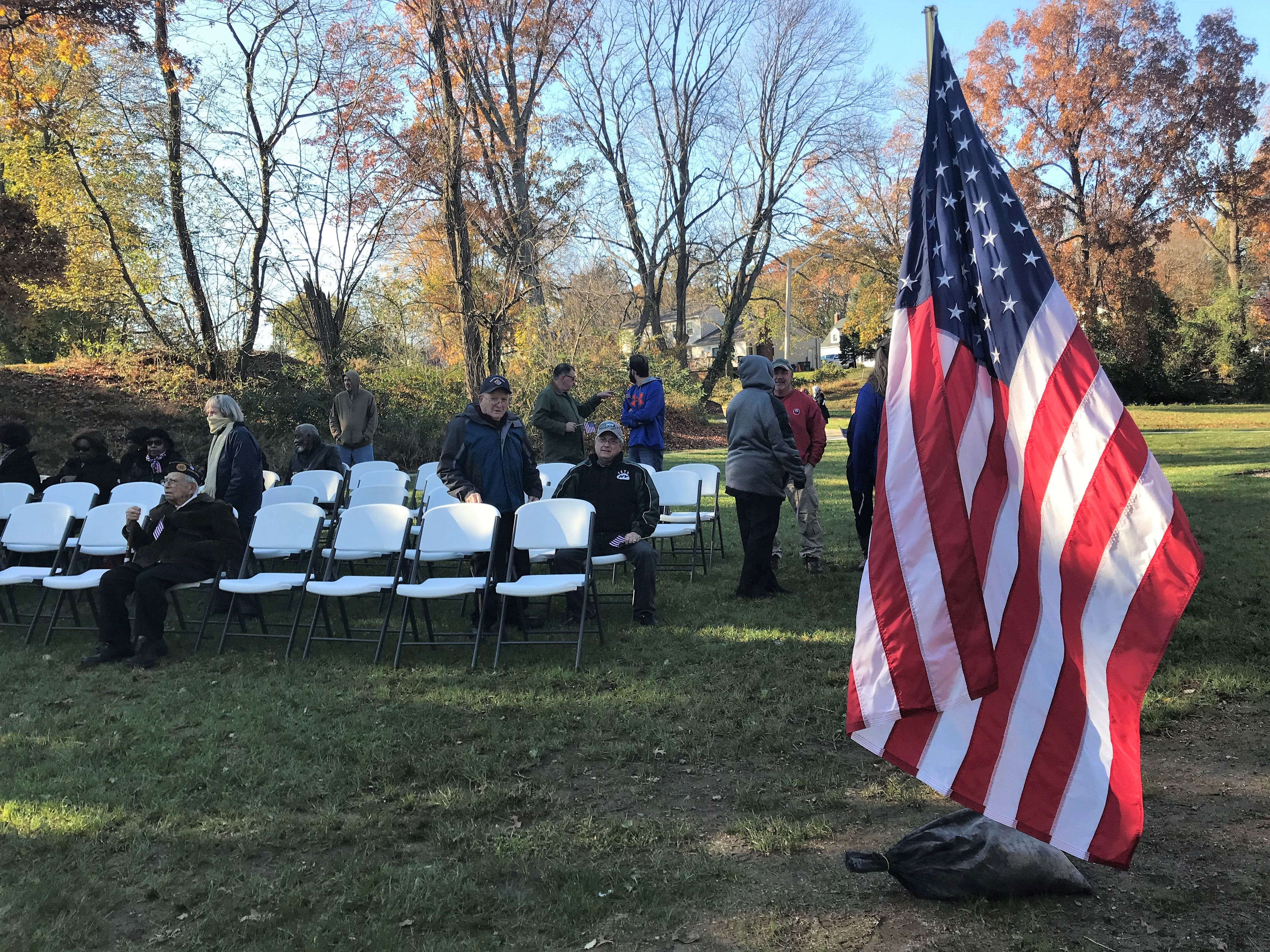 Veterans, residents and others start taking their seats ahead of the re-dedication of Veterans Park on Nov. 11, 2018. The ceremony commemorated the six Lewis brothers from Freehold Borough who served in World War II.