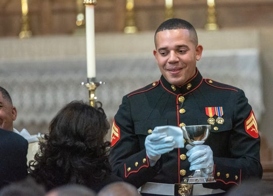 Christian Fuscarino, (not pictured) Executive Director of Garden State Equality, and U.S. Marine Corporal Aaron Williams (pictured here) were married at Trinity Church in Asbury Park on Sunday, November 11, 2018.