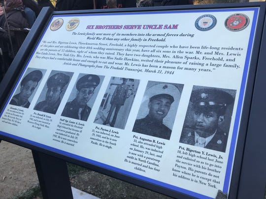 The marker is dedicated to the Lewis brothers, who all served in World War II.