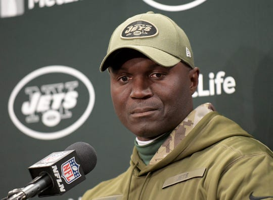 New York Jets head coach Todd Bowles answers questions during a news conference after a 41-10 loss to the Buffalo Bills on Sunday, Nov. 11, 2018.
