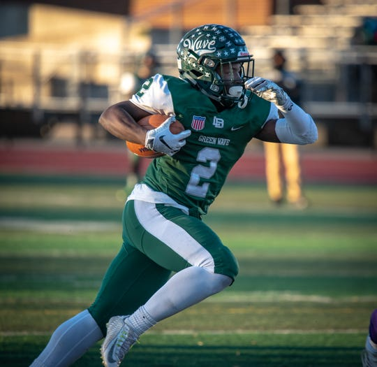 Jermaine Corbett (2) of Long Branch runs in the open field. He scored five TDs. Brick Memorial traveled to Long Branch to play the NJSIAA Central Group IV semifinal football game on Saturday, November 10, 2018. / Russ DeSantis for the Asbury Park Press