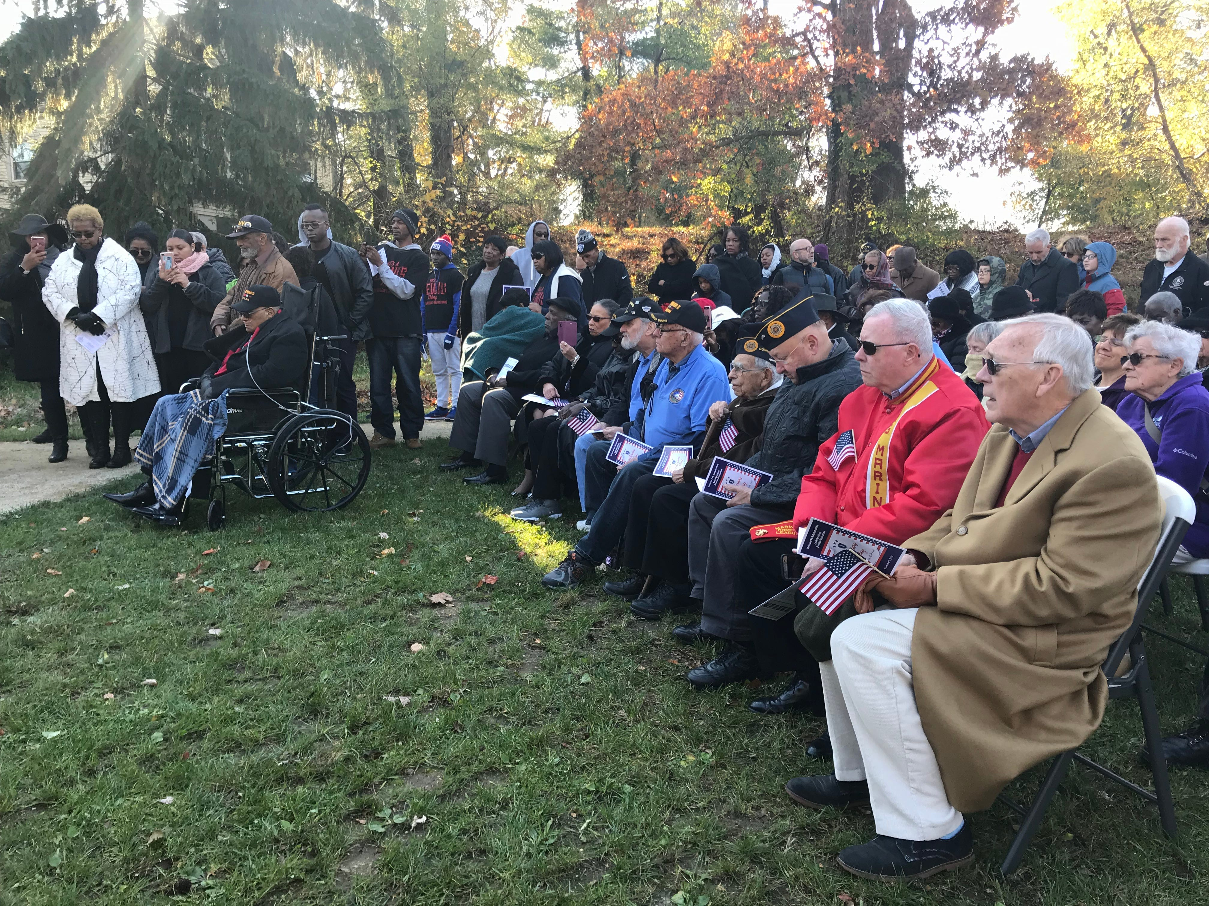 More than 100 people gathered on Nov. 11, 2018, for the re-dedication ceremony at Freehold Borough's Veterans Park. The ceremony commemorated the six Lewis brothers from Freehold Borough who served in World War II.