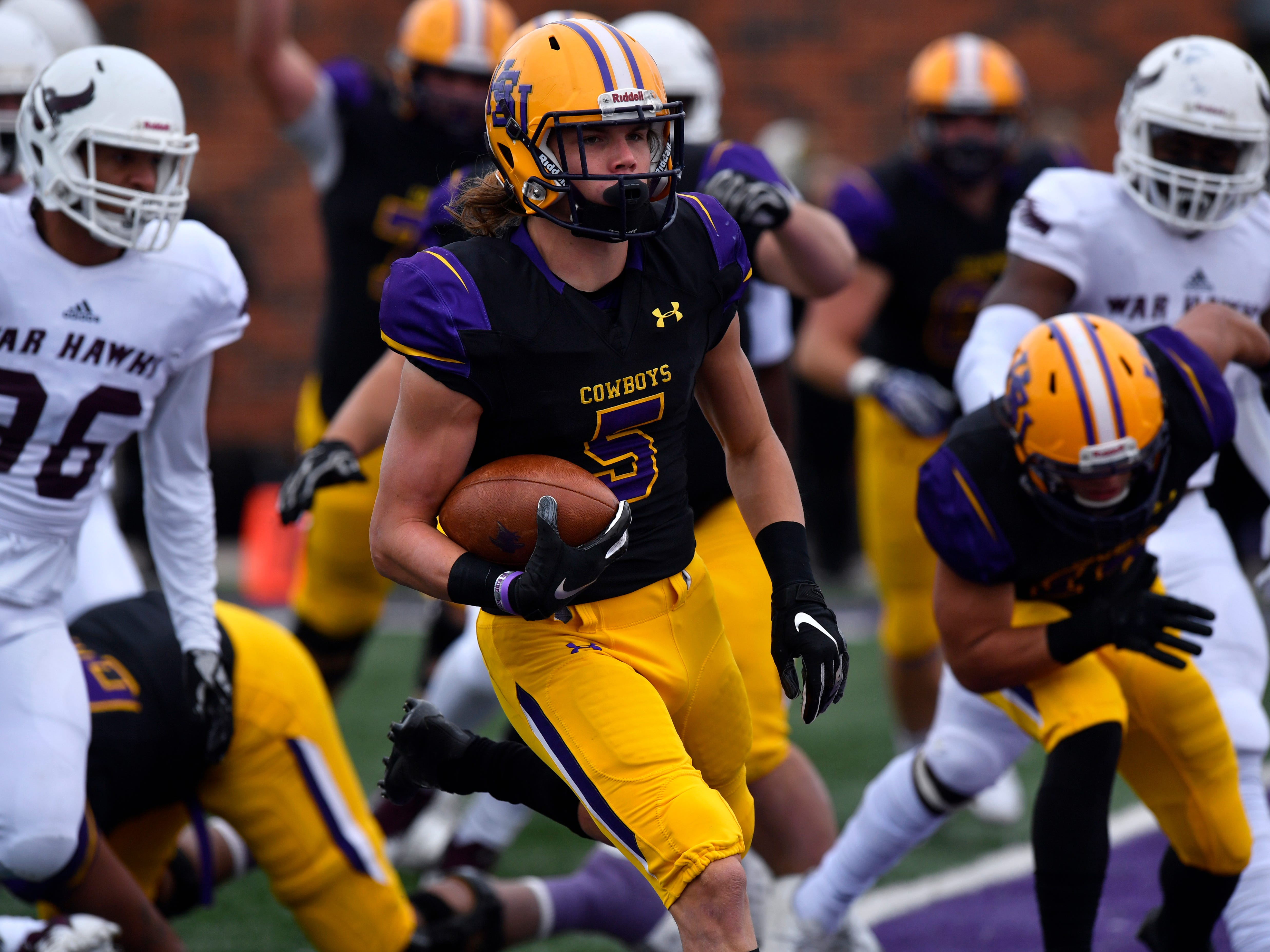 Hardin-Simmons wide receiver Reese Childress crosses the goal line for a touchdown against McMurry Saturday Nov. 10, 2018. Final score was 83-6, HSU.