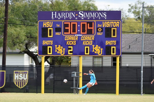 Hardin-Simmons keeper Caitlin Christiansen (34) takes a goal kick against Trinity in the second round of the NCAA Division III tournament at the HSU Soccer Complex on Sunday. Christiansen registered her second shutout of the playoffs.
