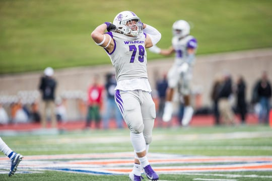 ACU defensive tackle Cole Burgess celebrates during the Wildcats' 17-10 victory over Sam Houston State on Saturday, Nov. 10, 2018, at Huntsville.