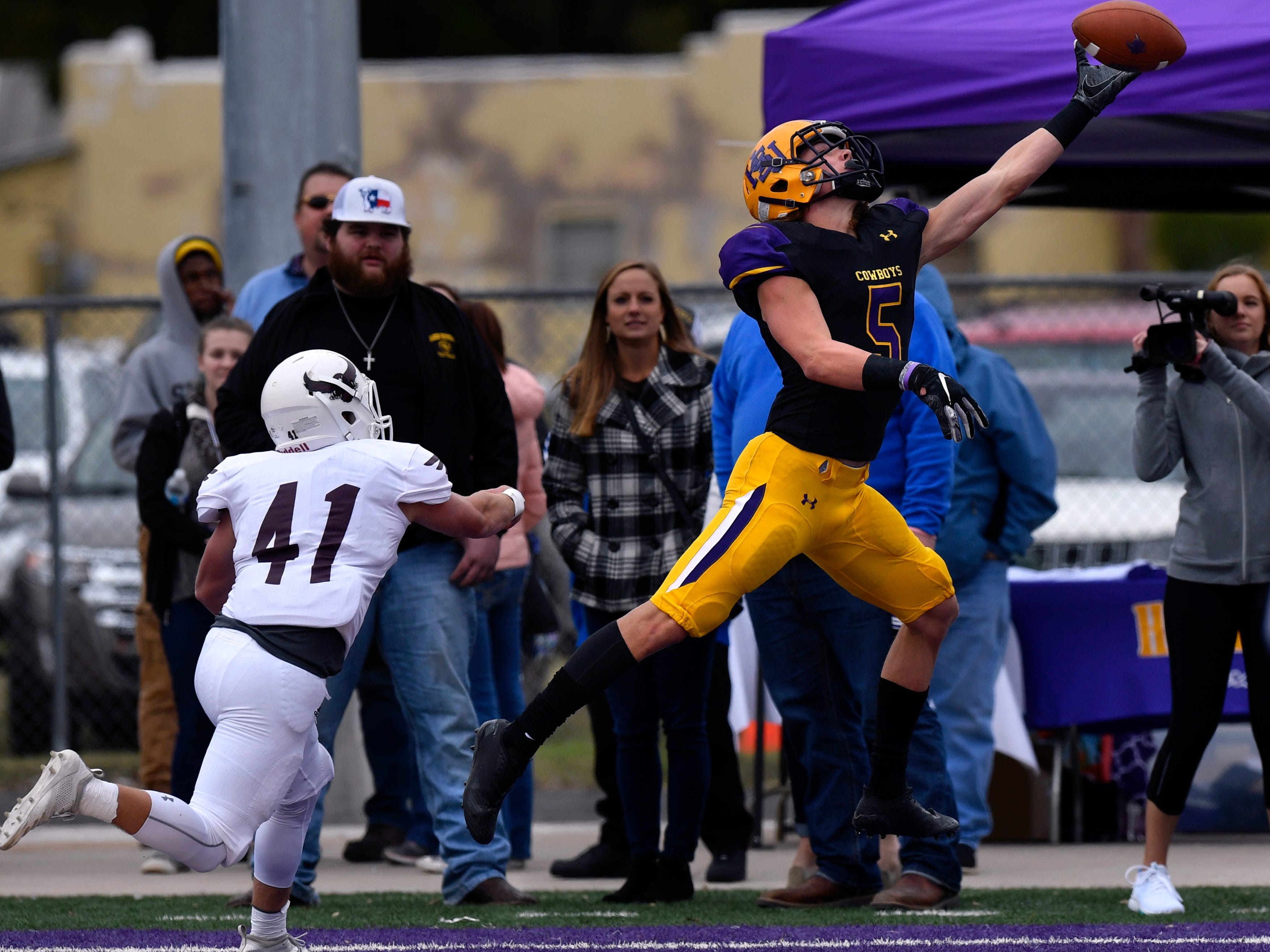 Hardin-Simmons wide receiver Reese Childress just misses catching a pass in the end zone Saturday Nov. 10, 2018 as McMurry's Bryson Barrett covers him. Final score was 83-6, HSU.