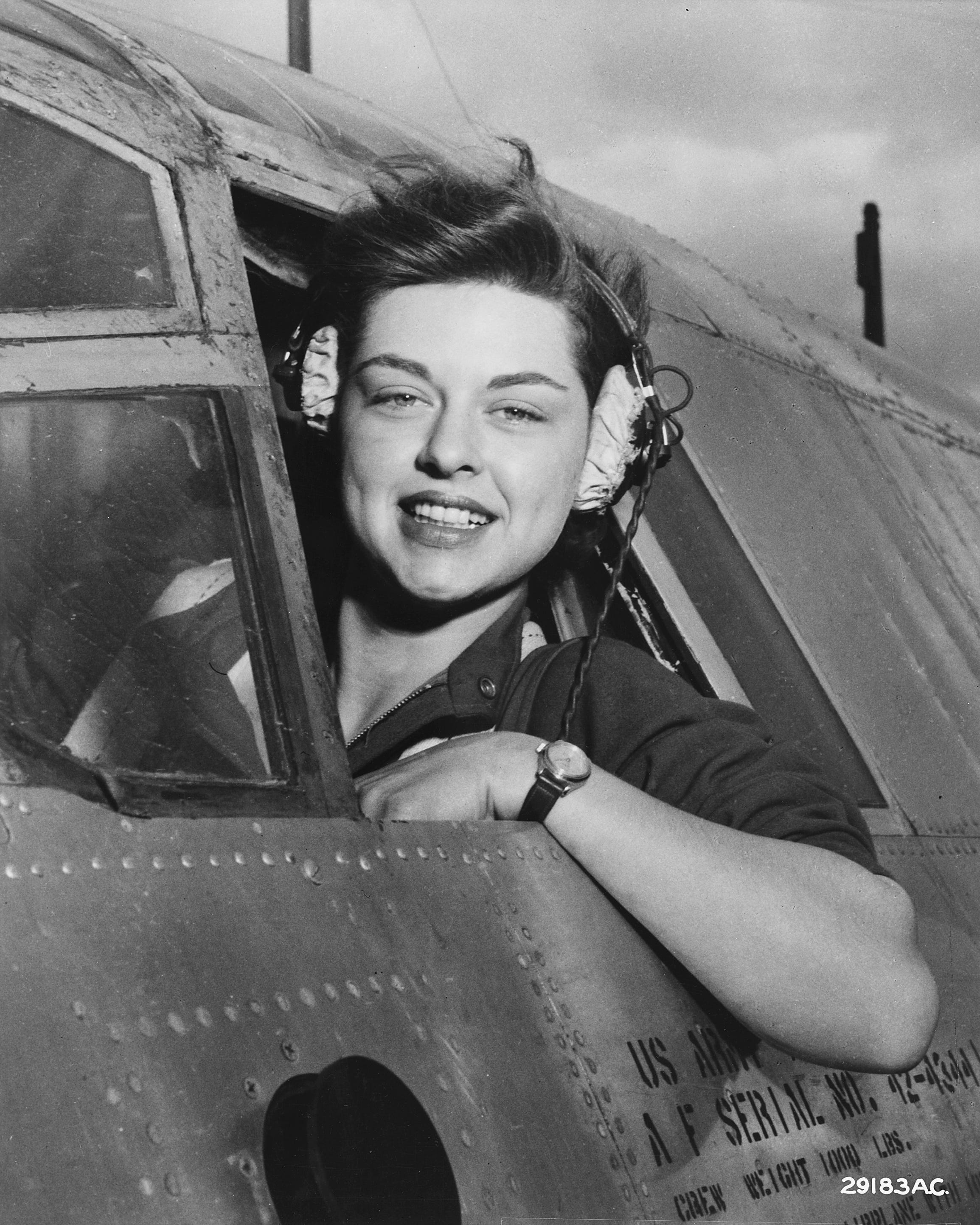 Elizabeth L. Gardner, a member of the Women's Airforce Service Pilots, sits at the controls of a B-26 Marauder at Harlingen Army Air Field, Texas, between 1943-44.