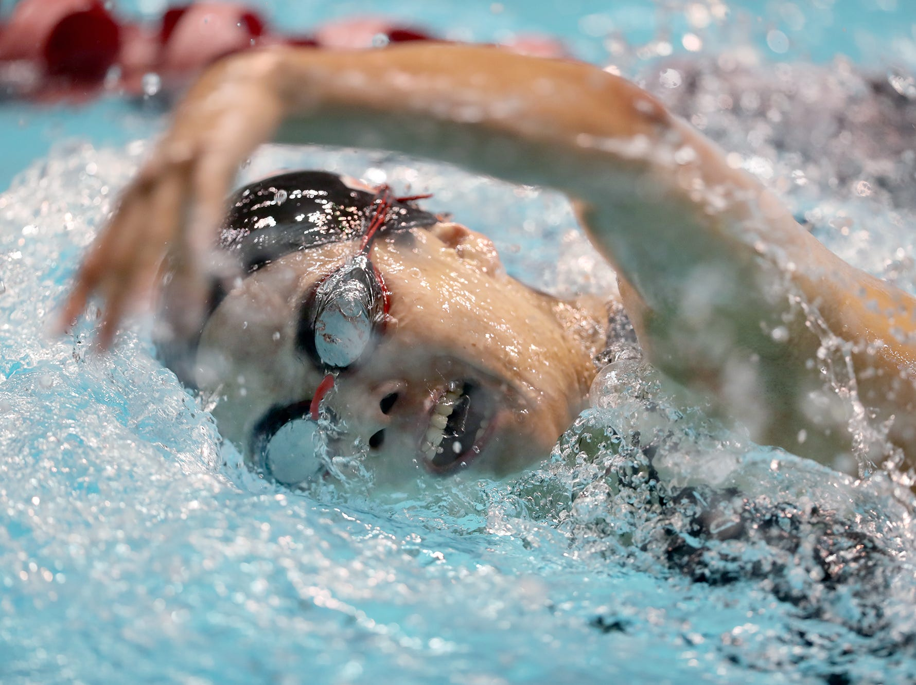 Central Kitsap swimmer Taylor Sims competes in the 3A girls 200 freestyle at the Washington State Swim & Diving Championships at the King County Aquatic Center on Saturday, November, 10, 2018.