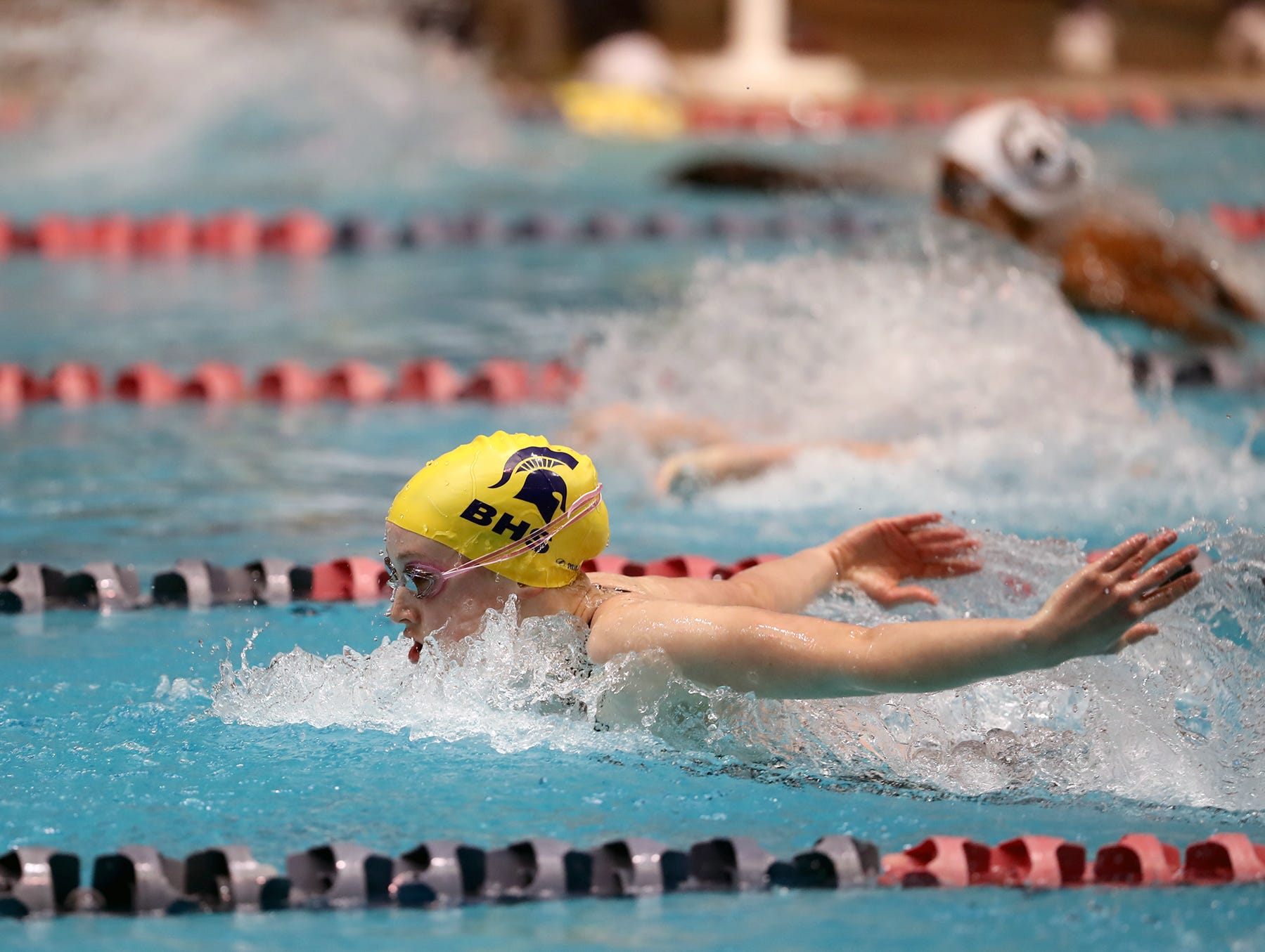 Bainbridge  swimmer Margaret Hayes competes in the 3A girls 200 IM medley at the Washington State Swim & Diving Championships at the King County Aquatic Center on Saturday, November, 10, 2018.She lead the whole race but was disqualified.