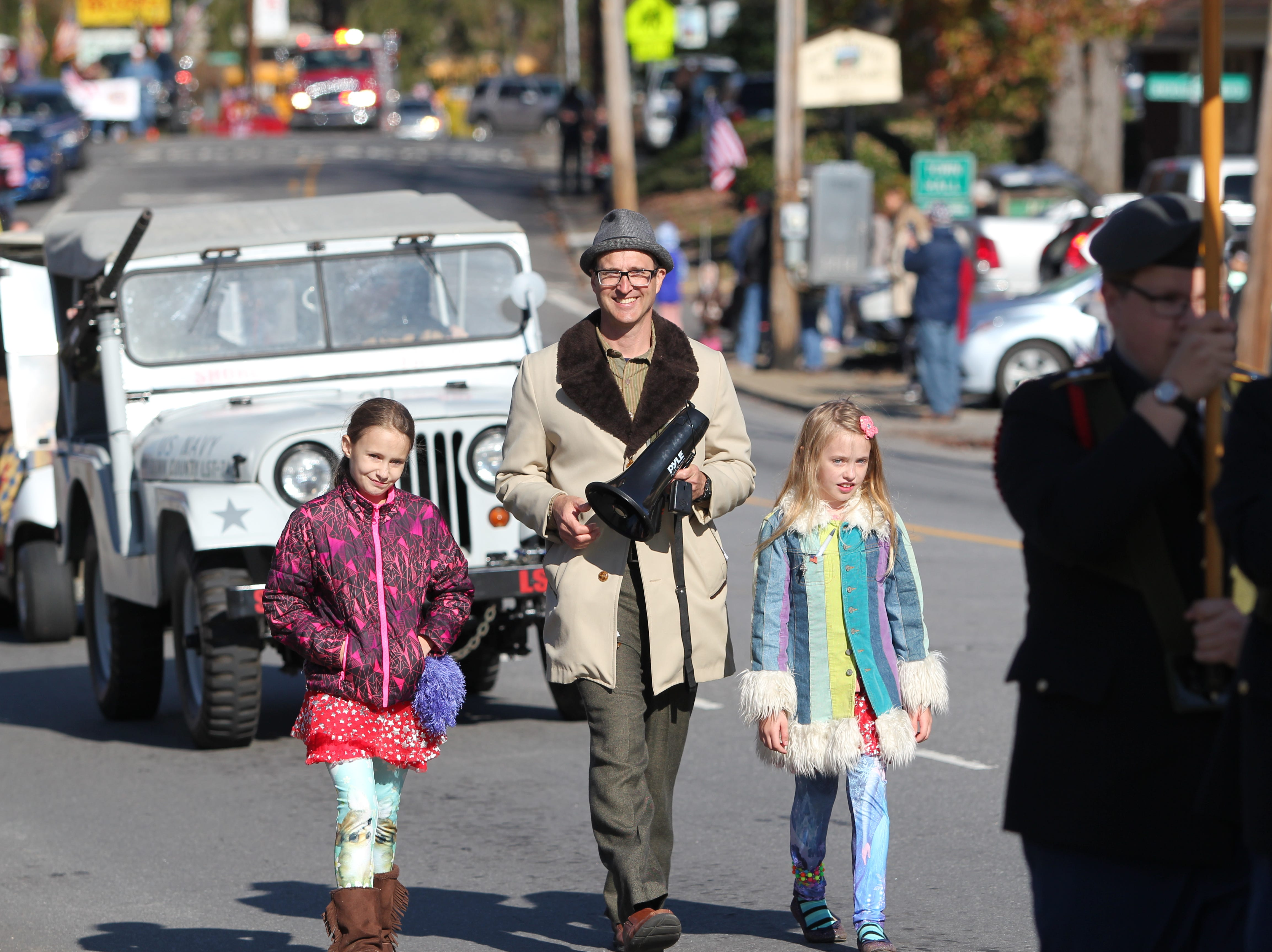 Weston Hall, a Black Mountain resident and veteran, walks in the Veterans Day Parade that made its way through the center of town at 2 p.m. on Sunday, Nov. 11, 2018. Hall is one of the organizers of the event.