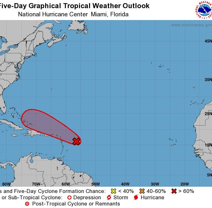 System strengthens, could become tropical or subtropical storm by middle of week