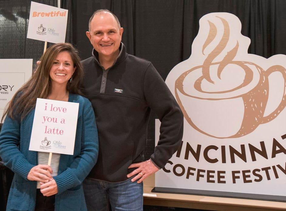 "David and Katelyn of Florida pose at the ""selfie station"" during the Cincinnati Coffee Festival at Music Hall Saturday, November 10, 2018 in Cincinnati, Ohio."
