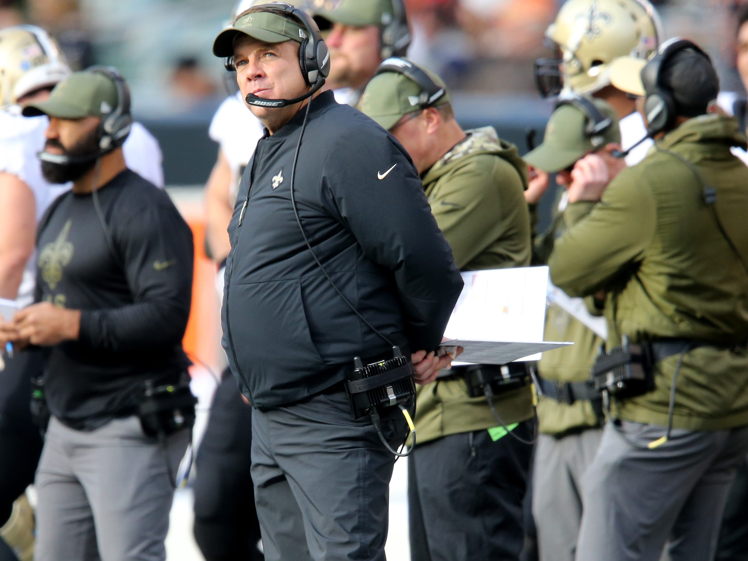 New Orleans Saints head coach Sean Payton looks up at the scoreboard in the fourth quarter of a Week 10 NFL game between the New Orleans Saints and the Cincinnati Bengals, Sunday, Nov. 11, 2018, at Paul Brown Stadium in Cincinnati. The New Orleans Saints won 51-14.