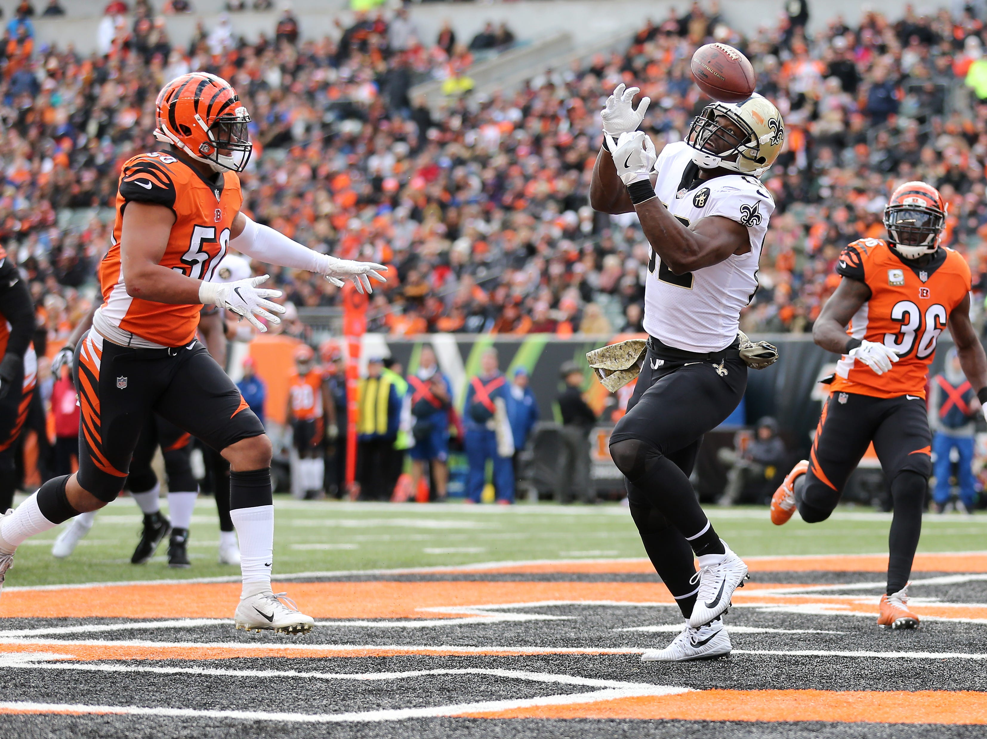 New Orleans Saints tight end Benjamin Watson (82) in unable to complete a reception in the end zone in the second quarter of a Week 10 NFL game between the New Orleans Saints and the Cincinnati Bengals, Sunday, Nov. 11, 2018, at Paul Brown Stadium in Cincinnati.