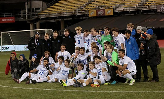 The Summit Country Day Silver Knights pose for a team photo after defeating Revere at MAPFRE Stadium in Columbus Saturday, Nov. 10, 2018.