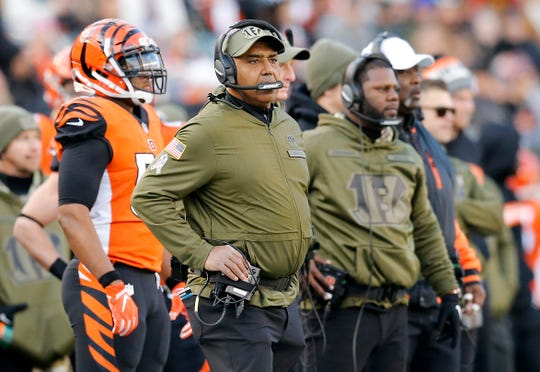 Cincinnati Bengals head coach Marvin Lewis looks on from the sideline in the fourth quarter of the NFL Week 10 game between the Cincinnati Bengals and the New Orleans Saints at Paul Brown Stadium in downtown Cincinnati on Sunday, Nov. 11, 2018. The Saints beat the Bengals 51-14.