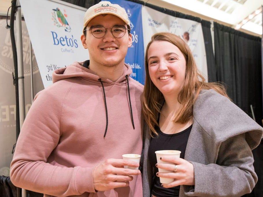 Austin Black and Cat Fadden of Clifton attend the Cincinnati Coffee Festival at Music Hall Saturday, November 10, 2018 in Cincinnati, Ohio.