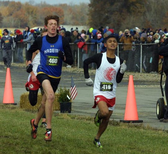 Madeira's Dylan Whitson races to the finish at the 2018 Boys Division II Cross Championships, November 10, 2018 at National Trail Raceway Center in Hebron, Ohio.