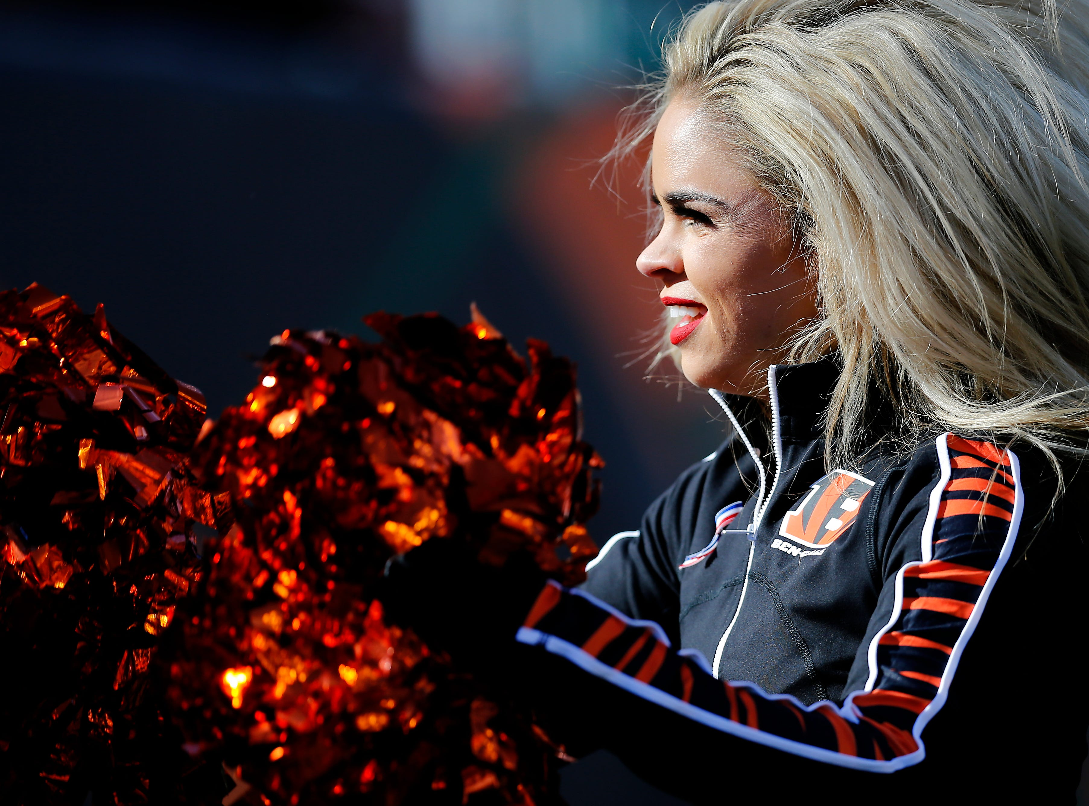 The Ben-Gals cheerleaders perform on the sidelines in the first quarter of the NFL Week 10 game between the Cincinnati Bengals and the New Orleans Saints at Paul Brown Stadium in downtown Cincinnati on Sunday, Nov. 11, 2018. The Saints led 35-7 at halftime.