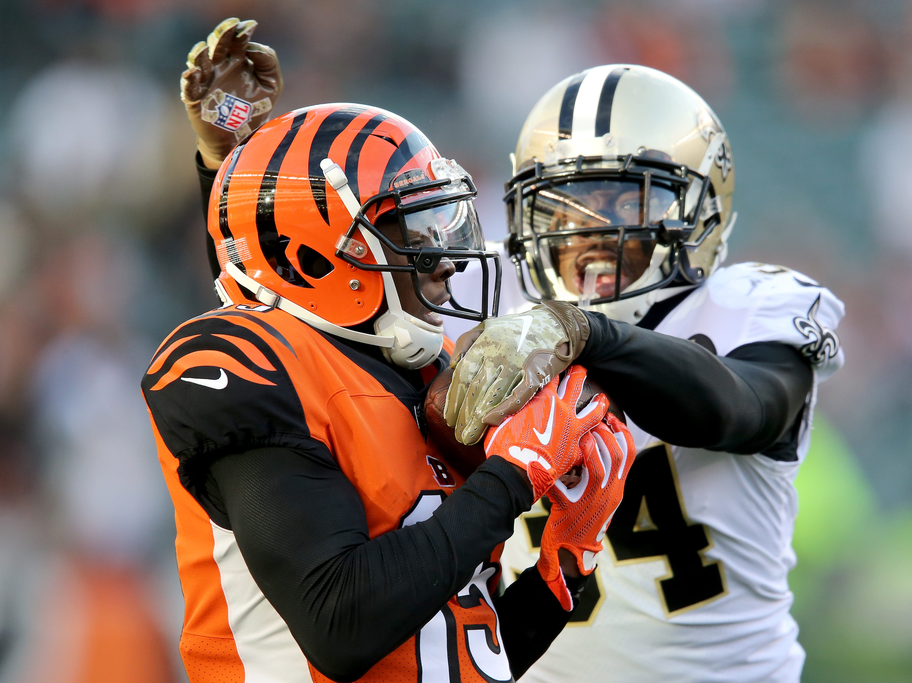 Cincinnati Bengals wide receiver John Ross (15) completes a long catch down the sideline in the fourth quarter of a Week 10 NFL game between the New Orleans Saints and the Cincinnati Bengals, Sunday, Nov. 11, 2018, at Paul Brown Stadium in Cincinnati. The New Orleans Saints won 51-14.