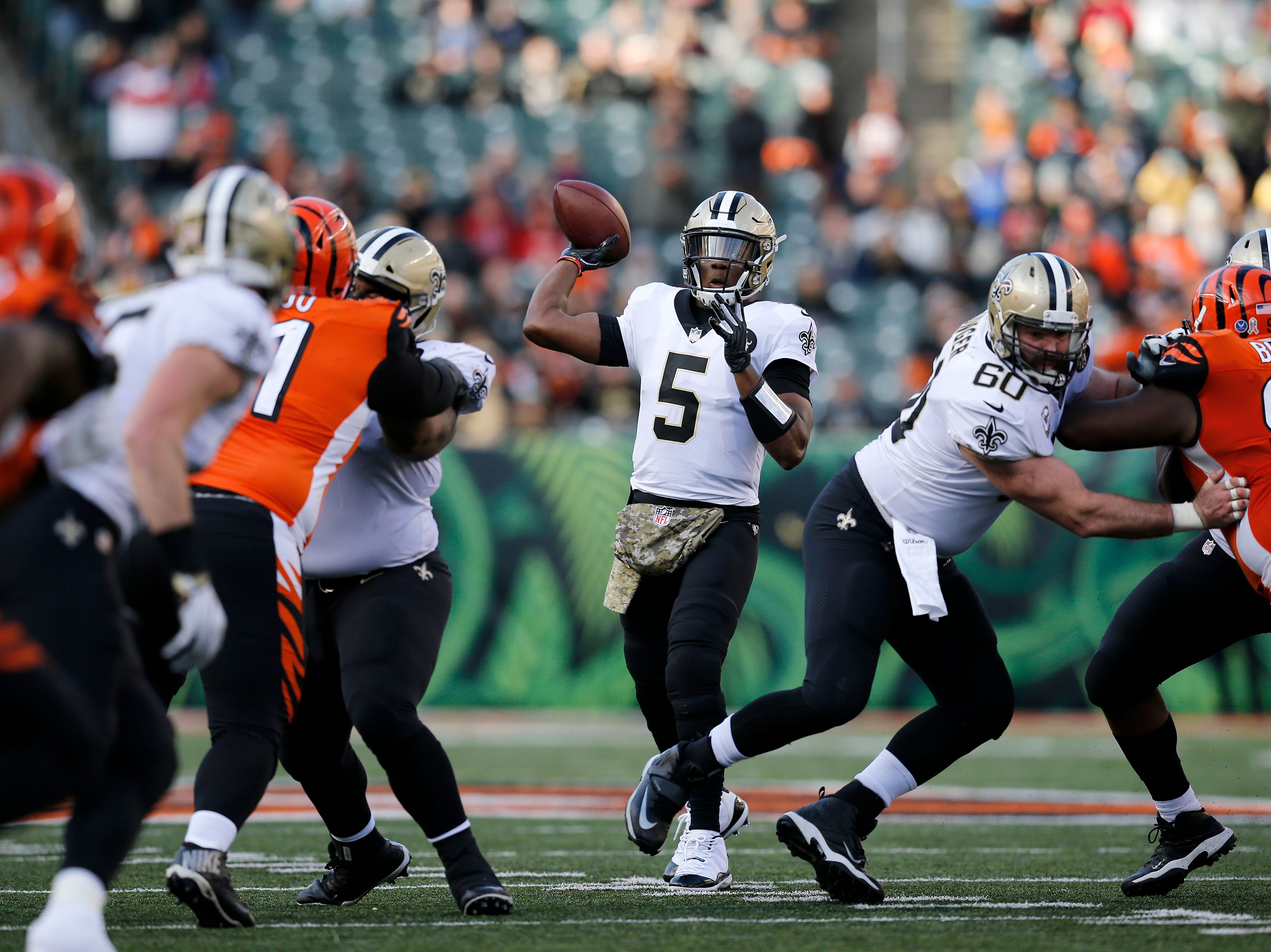 New Orleans Saints quarterback Teddy Bridgewater (5) throws a pass in the fourth quarter of the NFL Week 10 game between the Cincinnati Bengals and the New Orleans Saints at Paul Brown Stadium in downtown Cincinnati on Sunday, Nov. 11, 2018. The Saints beat the Bengals 51-14.