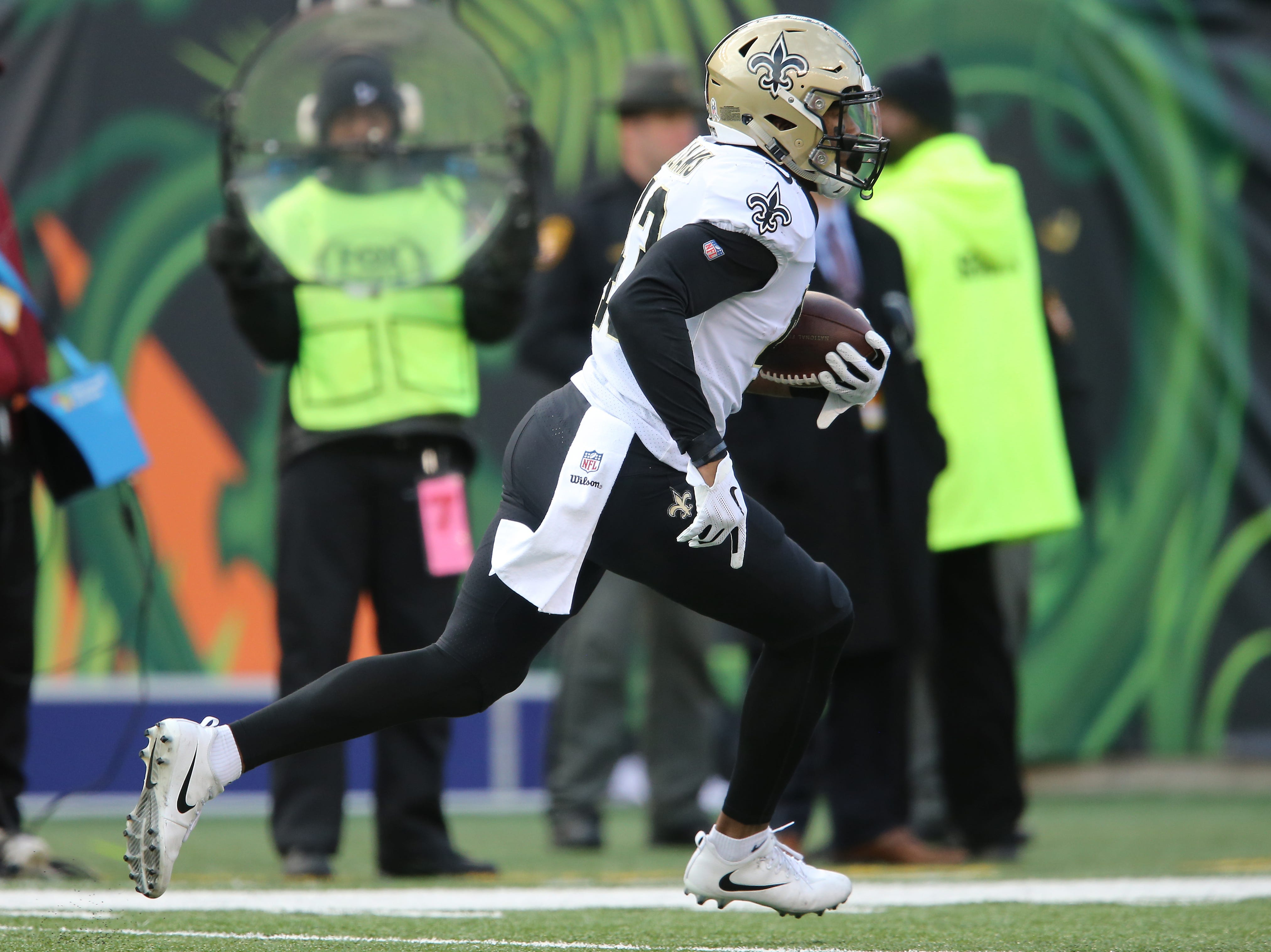New Orleans Saints free safety Marcus Williams (43) runs back an interception in the second quarter of a Week 10 NFL game between the New Orleans Saints and the Cincinnati Bengals, Sunday, Nov. 11, 2018, at Paul Brown Stadium in Cincinnati.