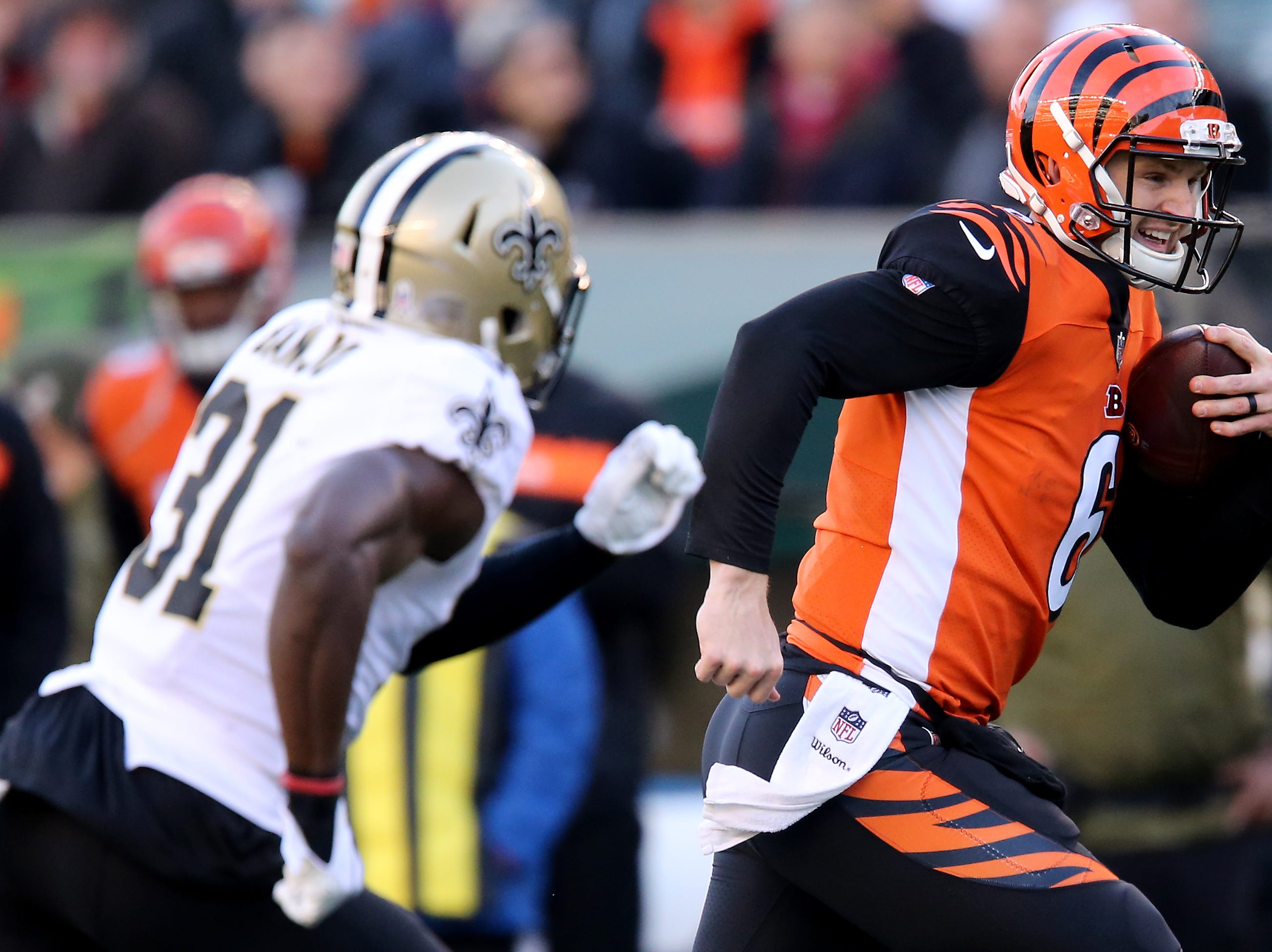 Cincinnati Bengals quarterback Jeff Driskel (6) runs for a touchdown in the fourth quarter of a Week 10 NFL game between the New Orleans Saints and the Cincinnati Bengals, Sunday, Nov. 11, 2018, at Paul Brown Stadium in Cincinnati. The New Orleans Saints won 51-14.