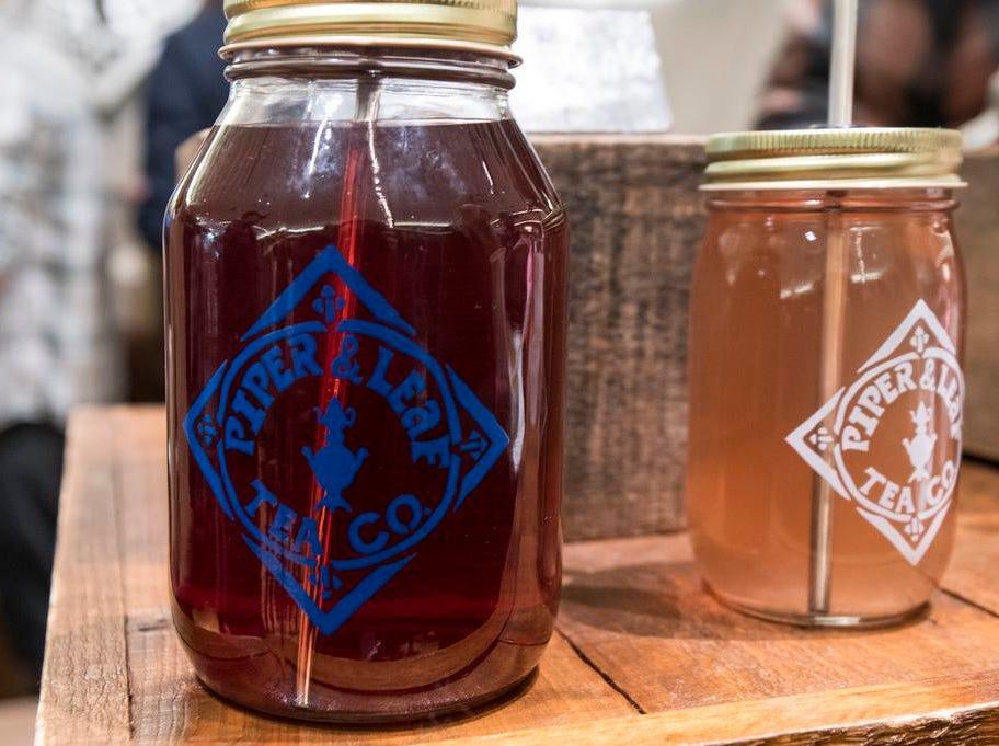 Piper & Leaf Tea Co. sell mason jars of freshly brewed tea the Cincinnati Coffee Festival at Music Hall Saturday, November 10, 2018 in Cincinnati, Ohio.