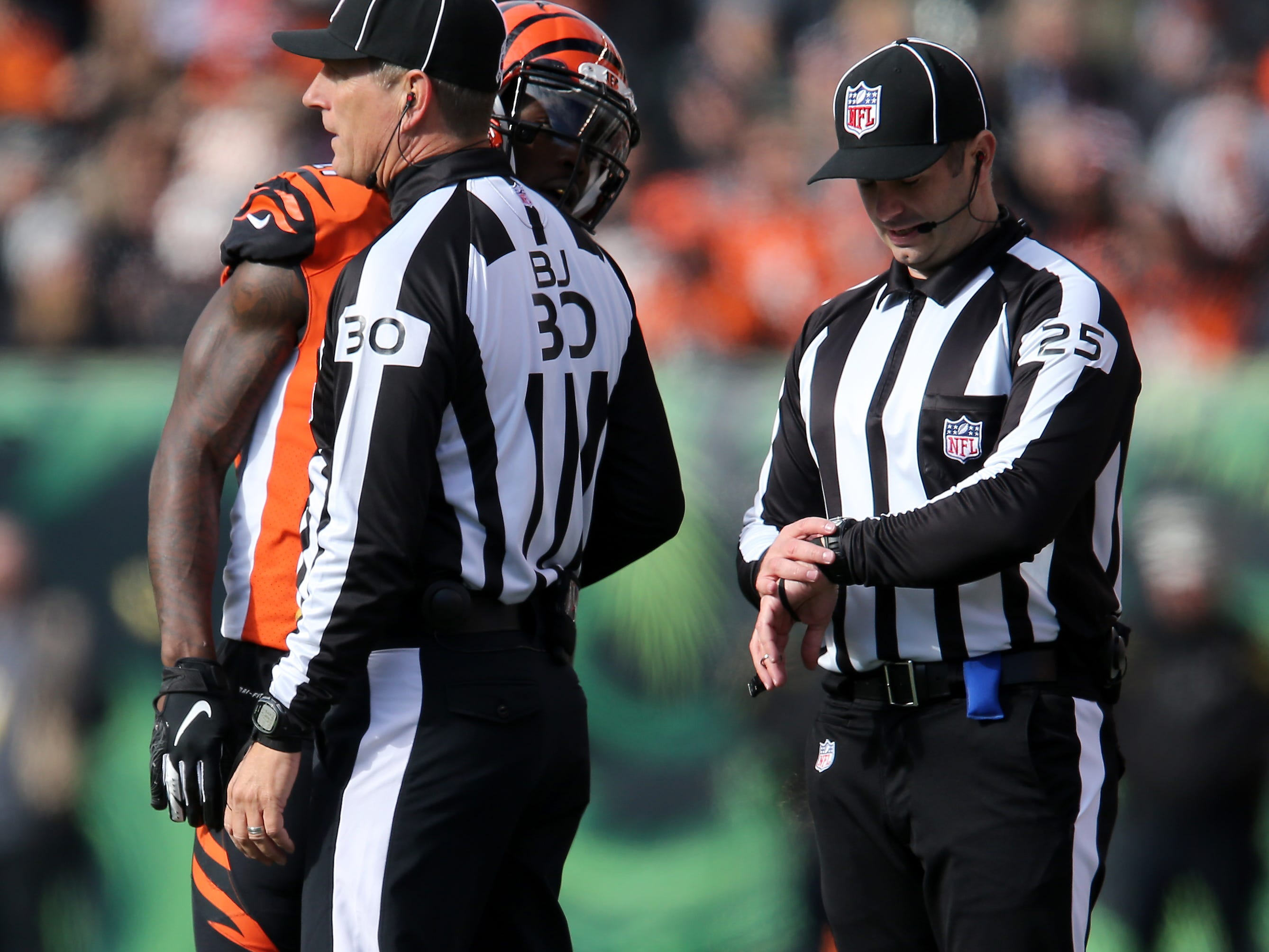 Cincinnati Bengals cornerback Dre Kirkpatrick (27) argues with the officials after being called for pass interference in the second quarter of a Week 10 NFL game between the New Orleans Saints and the Cincinnati Bengals, Sunday, Nov. 11, 2018, at Paul Brown Stadium in Cincinnati.
