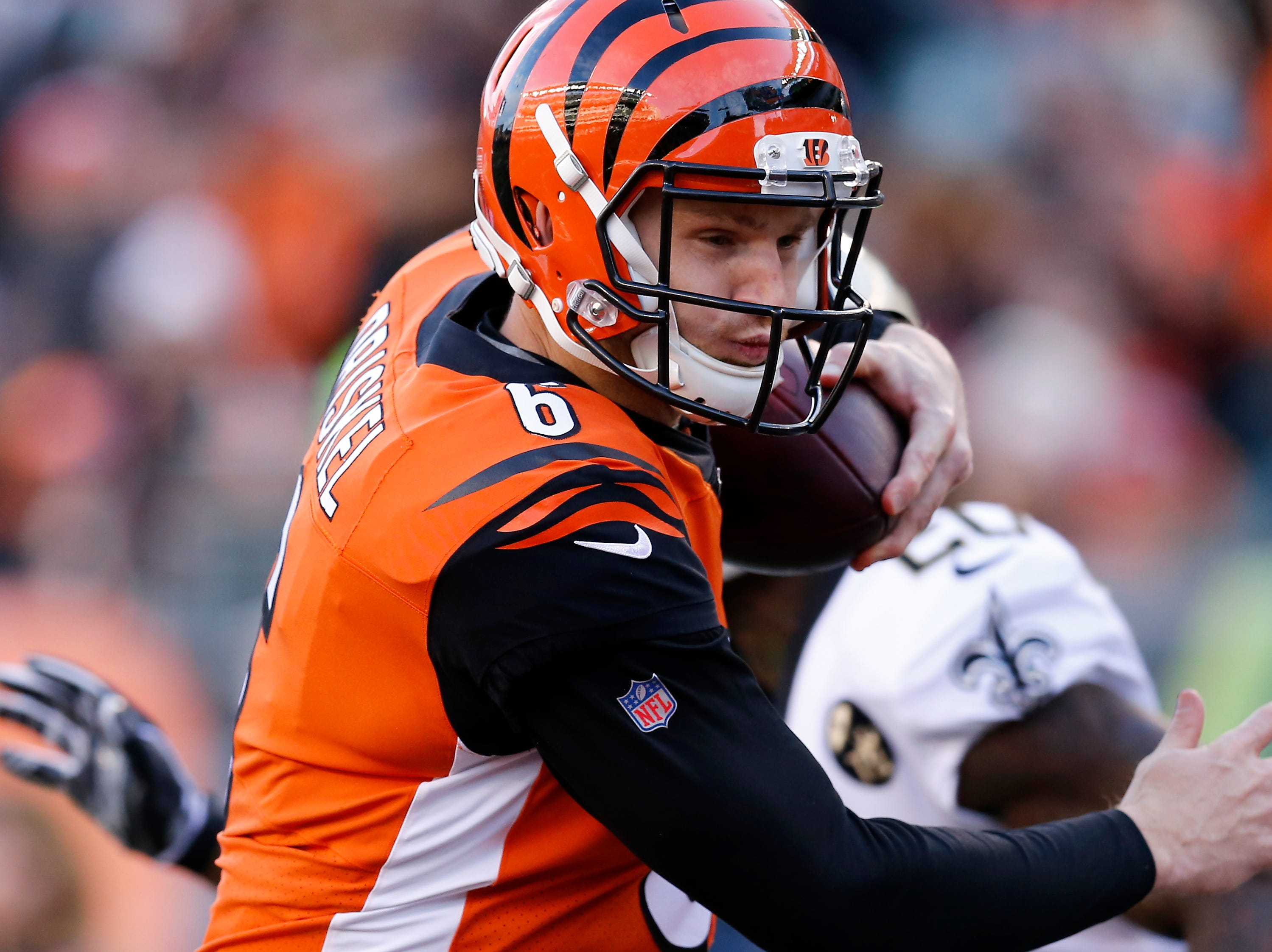 Cincinnati Bengals quarterback Jeff Driskel (6) run in a QB keeper for a touchdown in the fourth quarter of the NFL Week 10 game between the Cincinnati Bengals and the New Orleans Saints at Paul Brown Stadium in downtown Cincinnati on Sunday, Nov. 11, 2018. The Saints beat the Bengals 51-14.