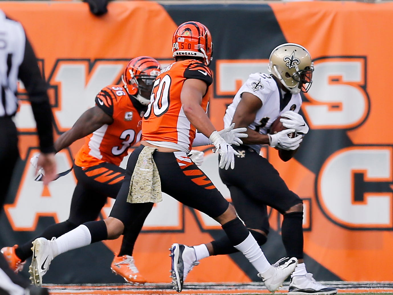 New Orleans Saints wide receiver Michael Thomas (13) makes a catch for a touchdown late in the second quarter of the NFL Week 10 game between the Cincinnati Bengals and the New Orleans Saints at Paul Brown Stadium in downtown Cincinnati on Sunday, Nov. 11, 2018. The Saints led 35-7 at halftime.