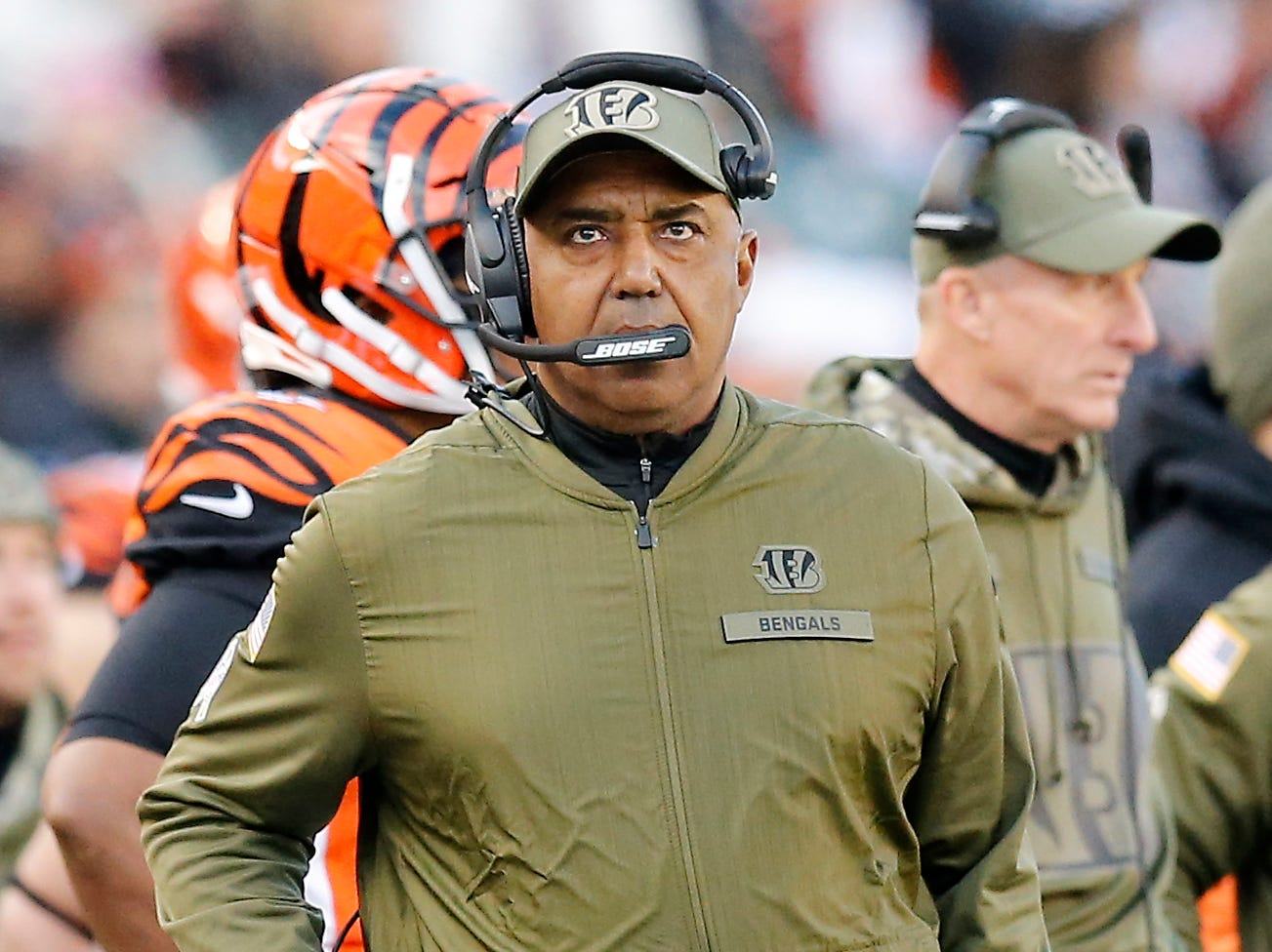 Cincinnati Bengals head coach Marvin Lewis looks to the video board in the fourth quarter of the NFL Week 10 game between the Cincinnati Bengals and the New Orleans Saints at Paul Brown Stadium in downtown Cincinnati on Sunday, Nov. 11, 2018. The Saints beat the Bengals 51-14.