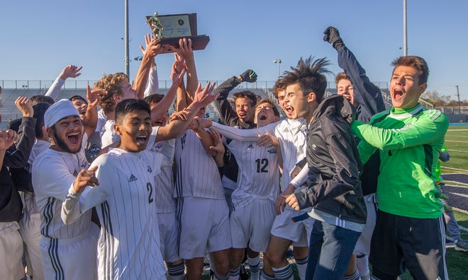 Gill St. Bernard's celebrates its win over Rutgers Prep in the NJSIAA Non-Public B final on Sunday, Nov. 11, 2018 at Kean University.