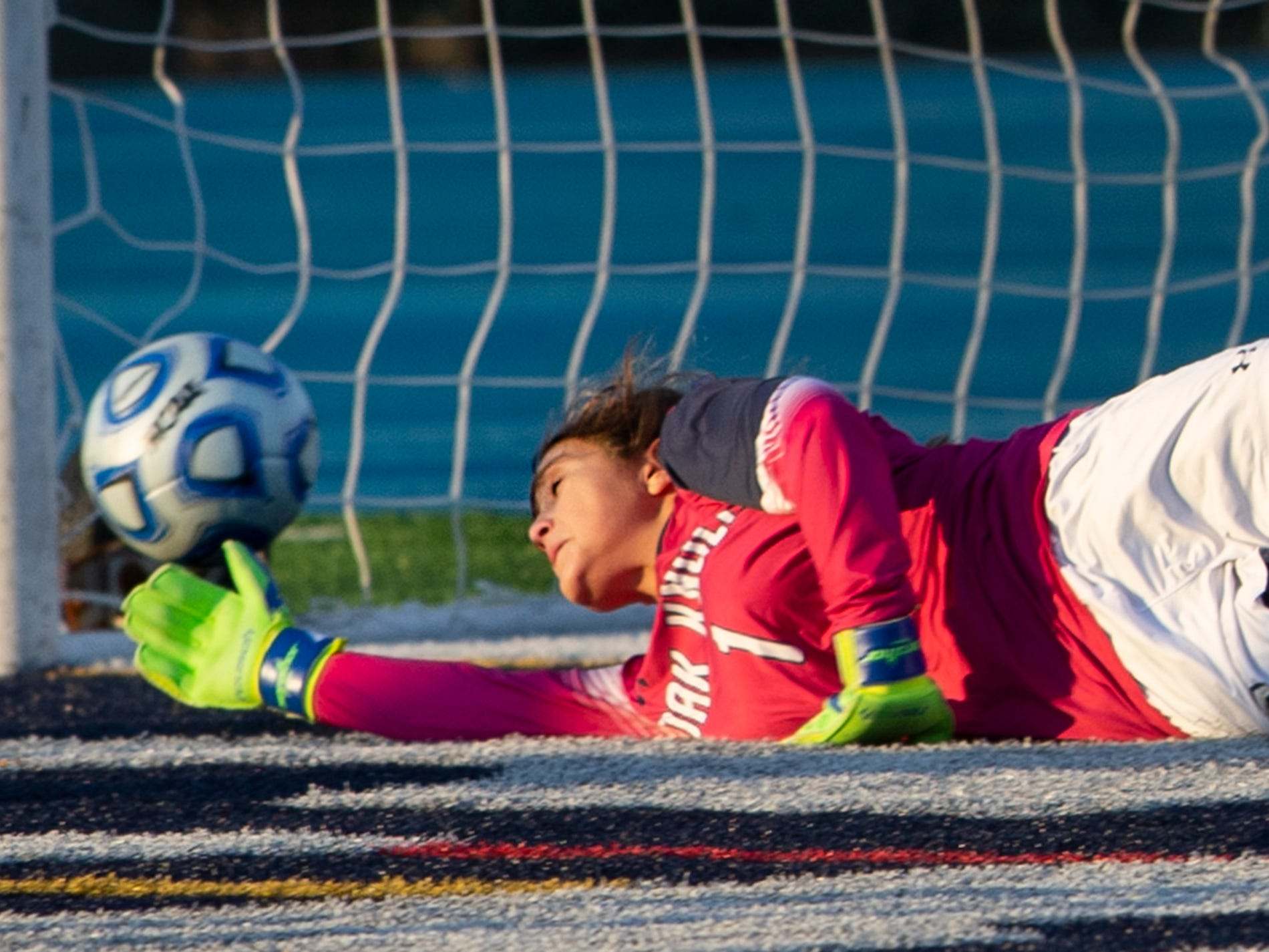 Oak Knoll goalie Bella Henry can't reach a shot by Sophia Cavaliere, which gave Pingry a commanding 3-0 lead in the Non-Public A final on Sunday, Nov. 11, 2018 at Kean University.