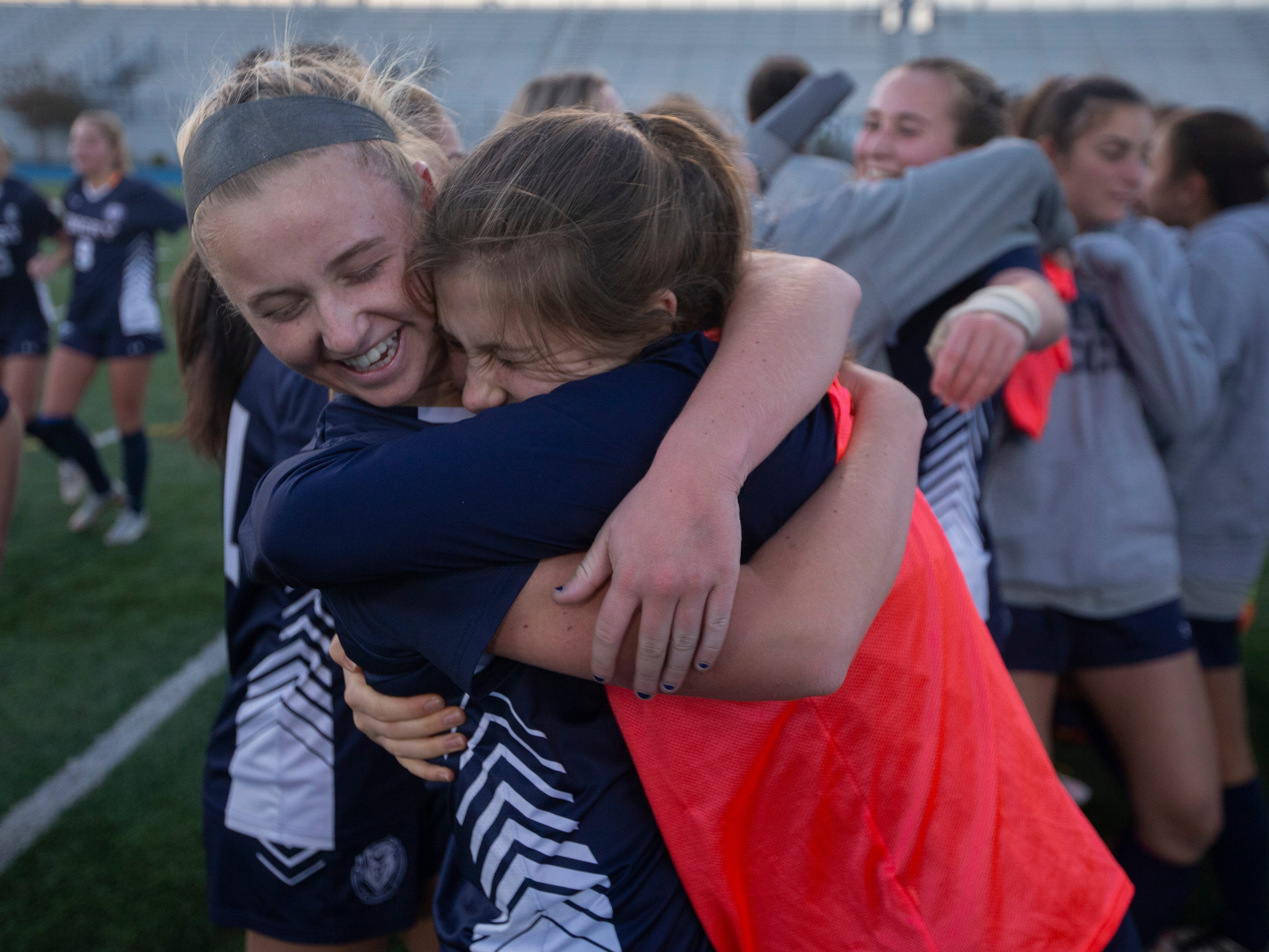 Pingry players celebrate their Non-Public A championship win on Sunday, Nov. 11, 2018 at Kean University.