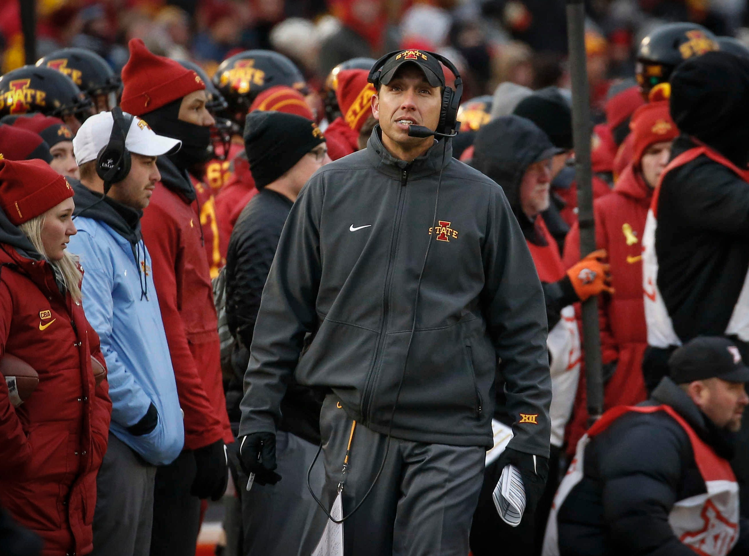 Iowa State head football coach Matt Campbell looks over at the replay screen in the second quarter against Baylor at Jack Trice Stadium in Ames on Saturday, Nov. 10, 2018.