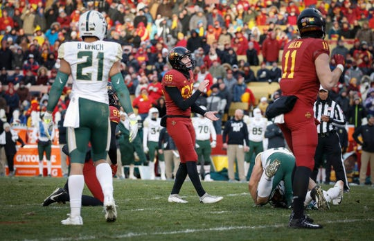 Iowa State kicker Connor Assalley watches his field goal kick sail between the uprights at the end of the first half against Baylor at Jack Trice Stadium in Ames on Saturday, Nov. 10, 2018.