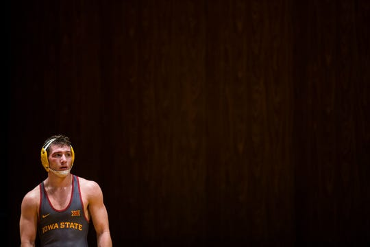 Iowa State's Chase Straw looks off the mat after loosing his match to SIU-Edwardsville's Justin Ruffin at 157 during a dual between the two schools on Sunday, Nov. 11, 2018, in CY Stephens Auditorium in Ames. Iowa State won the meet 37-3.