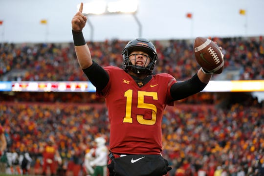 Iowa State quarterback Brock Purdy celebrates his touchdown run during the first half of an NCAA college football game against Baylor, Saturday, Nov. 10, 2018, in Ames.
