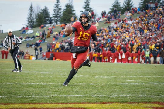 Iowa State freshman quarterback Brock Purdy runs unimpeded into the end zone against Baylor at Jack Trice Stadium in Ames on Saturday, Nov. 10, 2018.