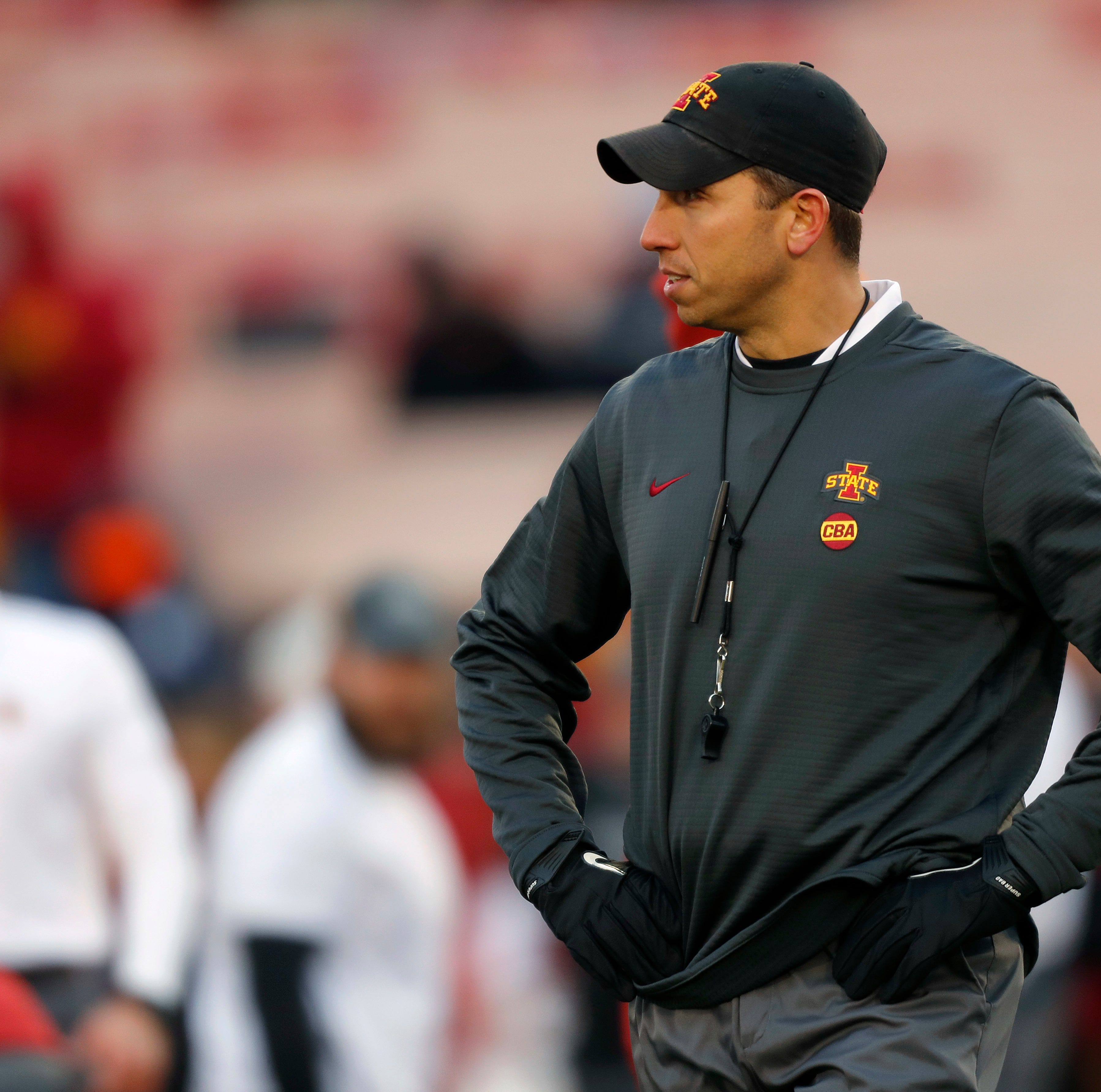 Iowa State head coach Matt Campbell looks on...