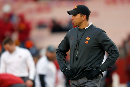 Iowa State head coach Matt Campbell looks on during warmups before an NCAA college football game against Baylor, Saturday, Nov. 10, 2018, in Ames.