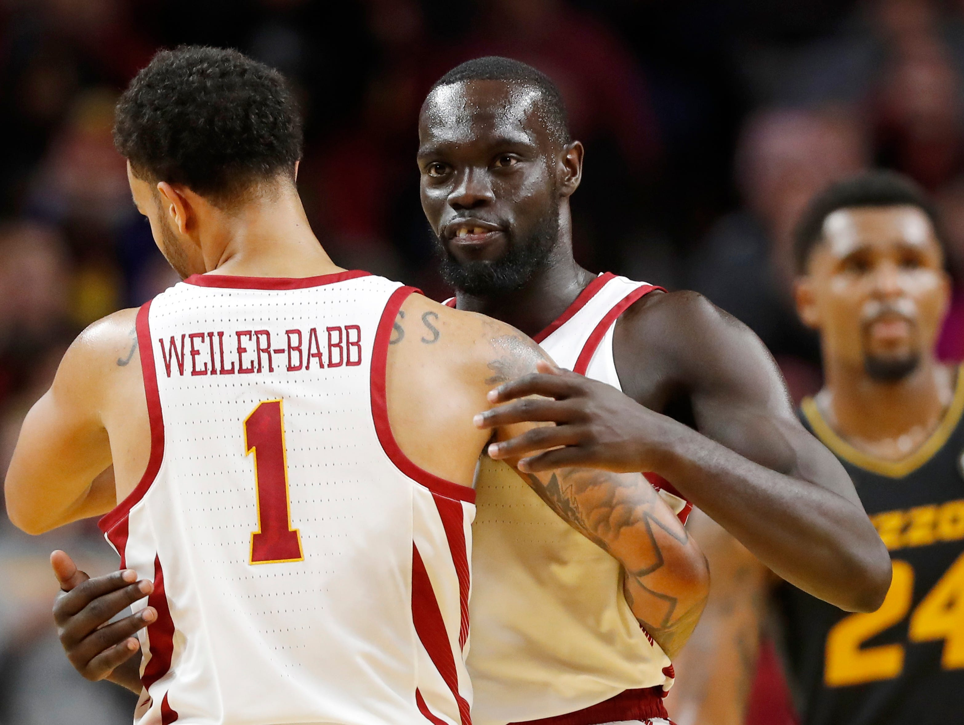 Iowa State guard Marial Shayok celebrates with teammate Nick Weiler-Babb (1) at the end of an NCAA college basketball game against Missouri, Friday, Nov. 9, 2018, in Ames, Iowa. Iowa State won 76-59.