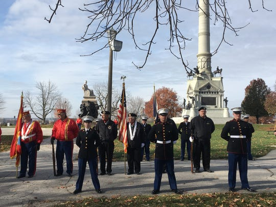 Members of North High School's ROTC were at the Veteran's Day ceremony on Sunday.