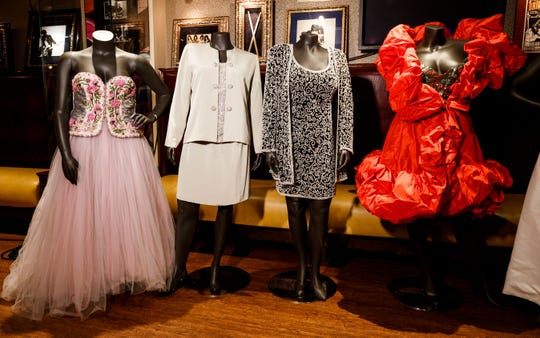 "Outfits worn by late singer Aretha Franklin are on display at a press preview of an auction of Franklin's clothing at the Hard Rock Cafe Times Square in New York, part of Julien's Auctions two-day music extravaganza ""Icons & Idols: Rock-n-Roll."" Franklin, one of the best-selling musical artists of all time, sold more than 75 million records worldwide."