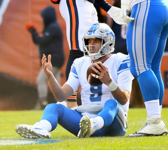 Lions quarterback Matthew Stafford reacts after being sacked by the Bears during the first quarter on Sunday, Nov. 11, 2018, in Chicago.