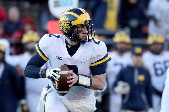 Michigan quarterback Shea Patterson threw for 290 yards and three touchdowns against Rutgers on Nov. 10 in Piscataway, N.J.