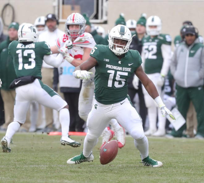 Michigan State's La'Darius Jefferson fumbles during the second half of the 26-6 loss to Ohio State on Saturday, Nov. 10, 2018, in East Lansing.