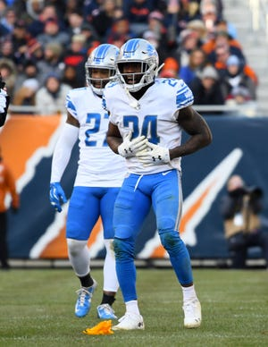 Detroit Lions cornerback Nevin Lawson reacts after a penalty against the Chicago Bears during the second half at Soldier Field in Chicago, Nov. 11, 2018.