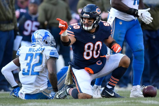 Trey Burton of the Chicago Bears celebrates after a first down against the Detroit Lions in the third quarter at Soldier Field in Chicago, Nov. 11, 2018.